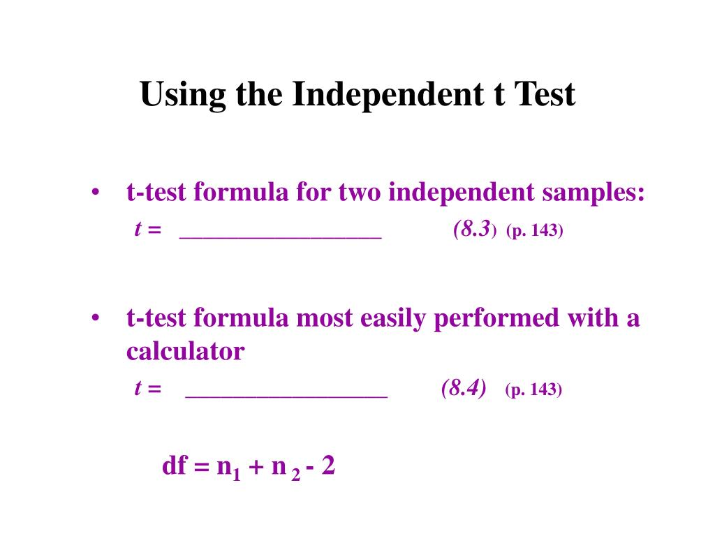 Using the Independent t Test