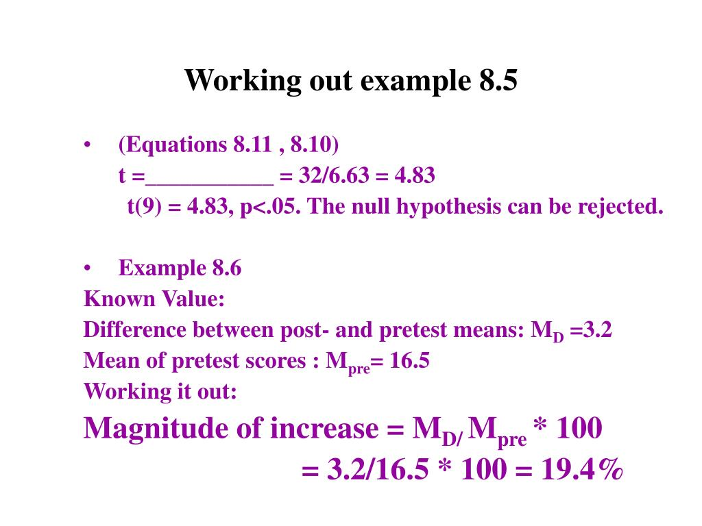 Working out example 8.5