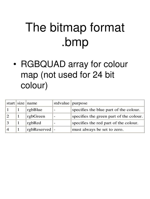 The bitmap format .bmp