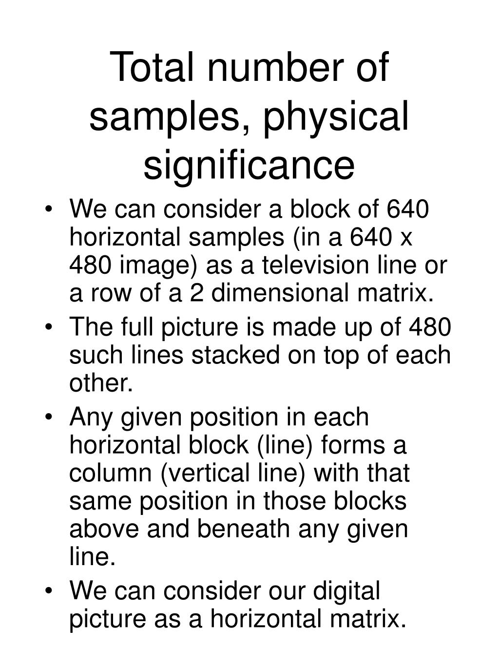 Total number of samples, physical significance