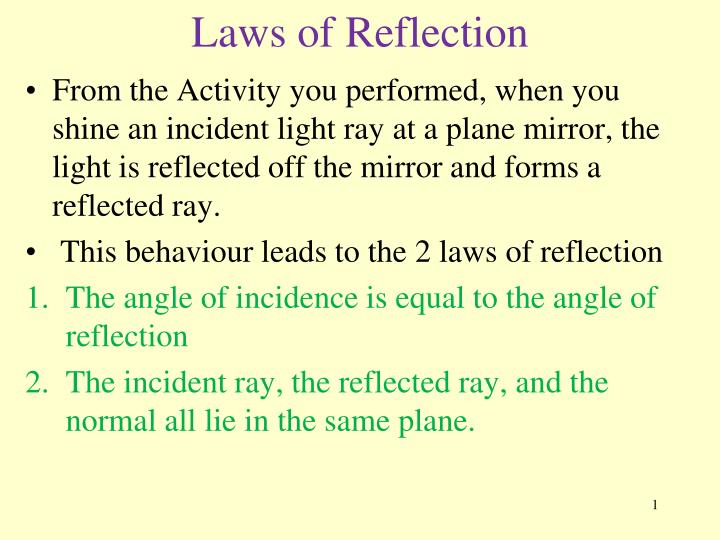 Laws of reflection l.jpg