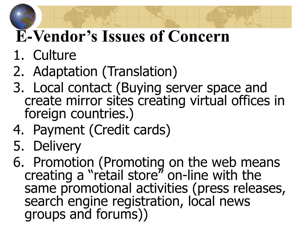 E-Vendor's Issues of Concern