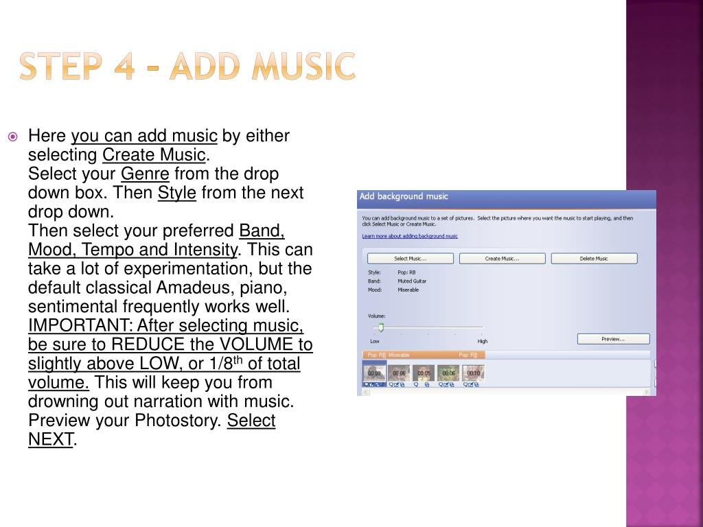 Step 4 – Add Music