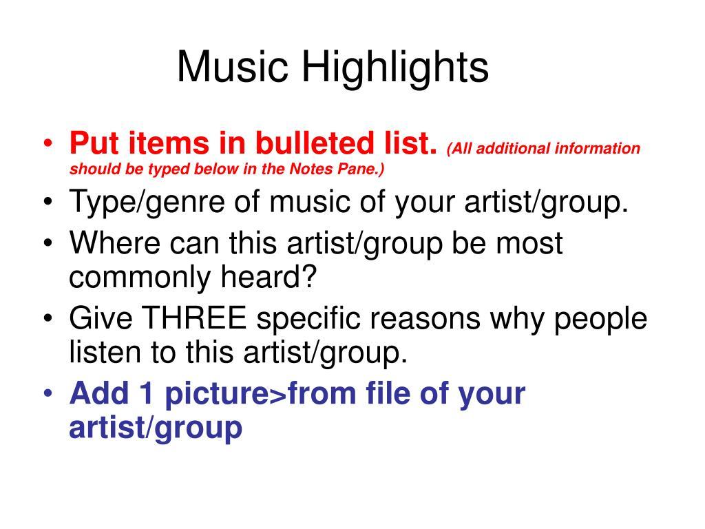 Music Highlights