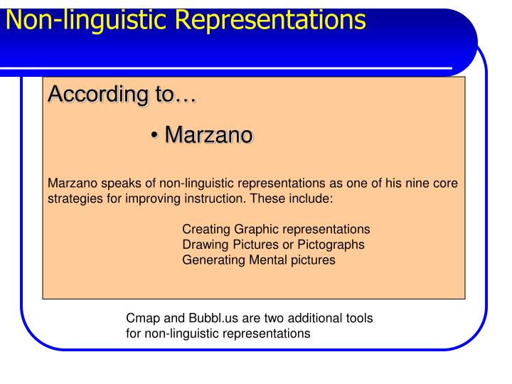Non linguistic representations