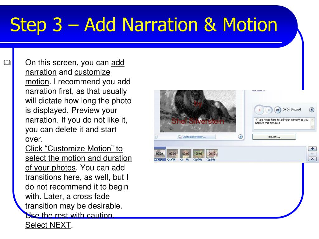 Step 3 – Add Narration & Motion