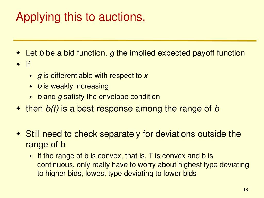 Applying this to auctions,