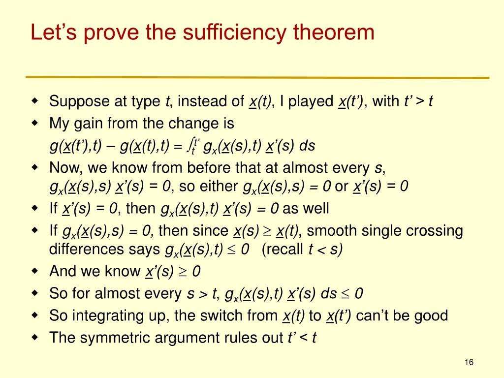 Let's prove the sufficiency theorem