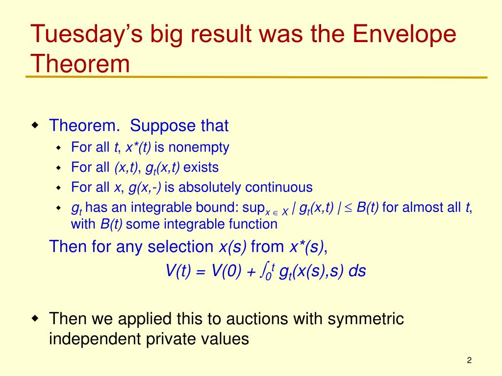 Tuesday's big result was the Envelope Theorem