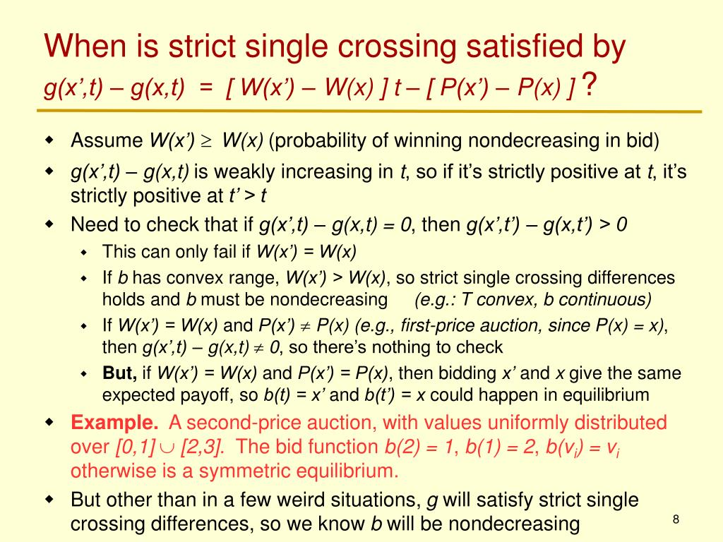 When is strict single crossing satisfied by