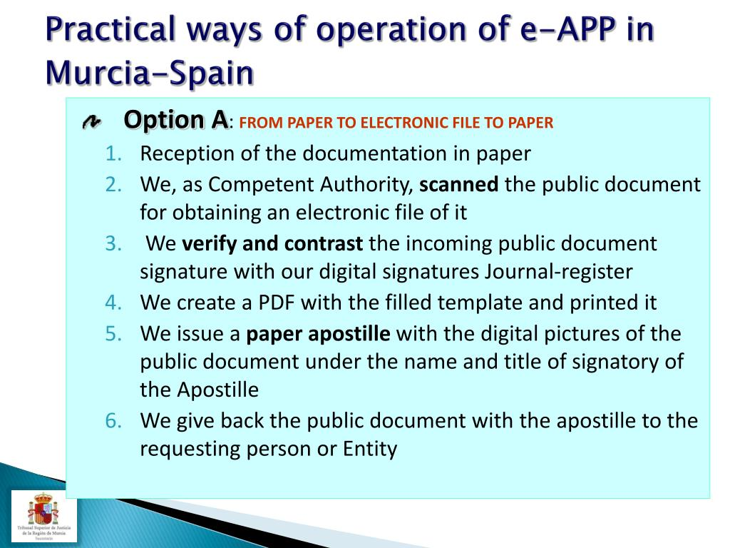 Practical ways of operation of e-APP in Murcia-Spain