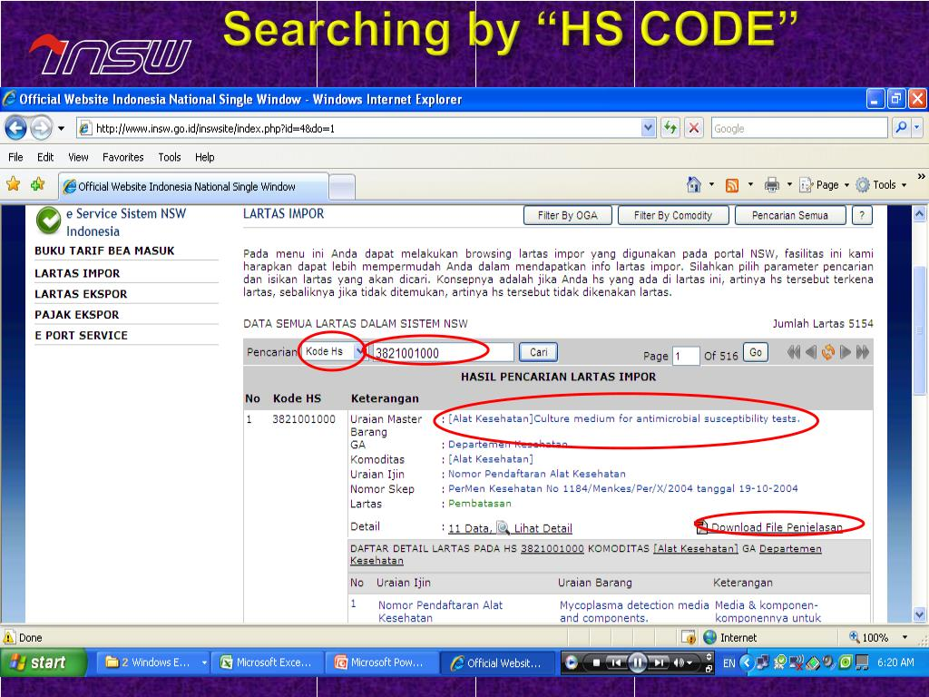 "Searching by ""HS CODE"""