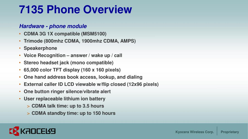 7135 Phone Overview