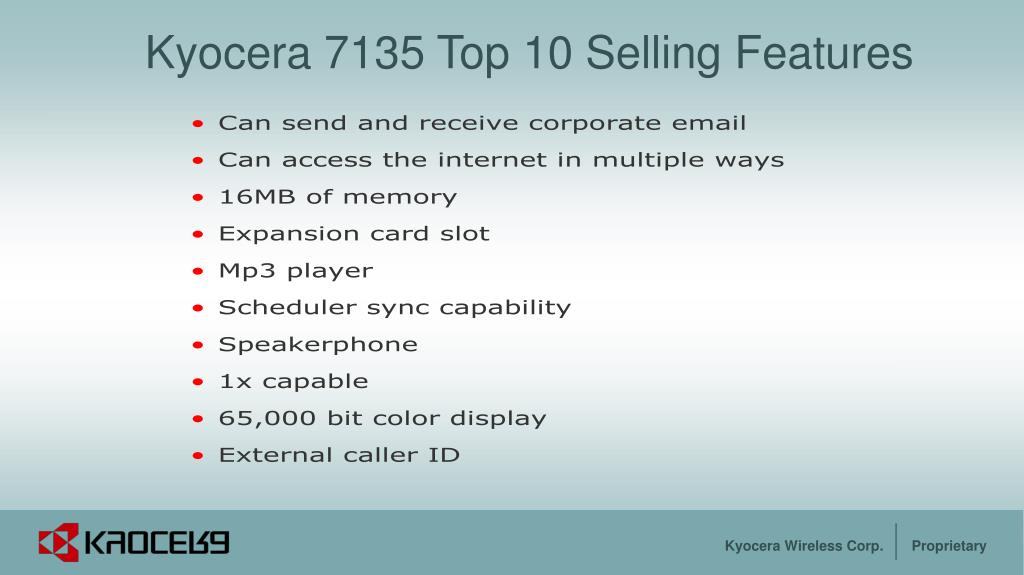 Kyocera 7135 Top 10 Selling Features