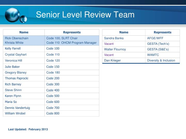 Senior level review team