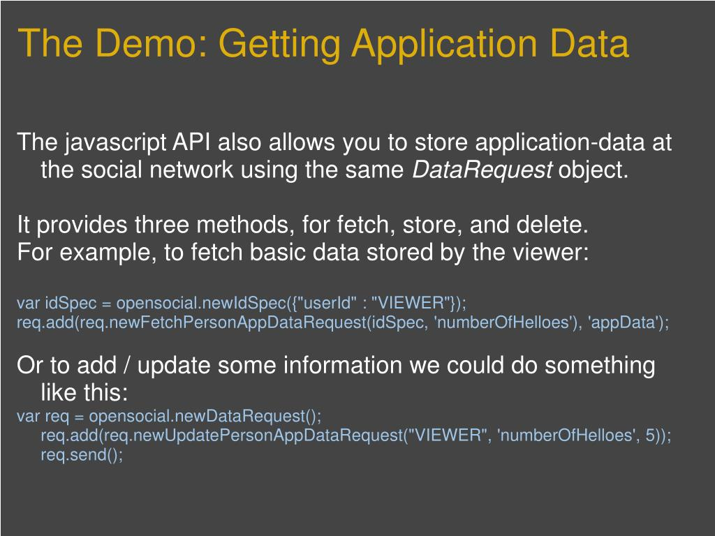 The Demo: Getting Application Data