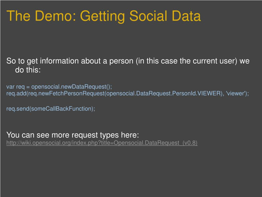 The Demo: Getting Social Data