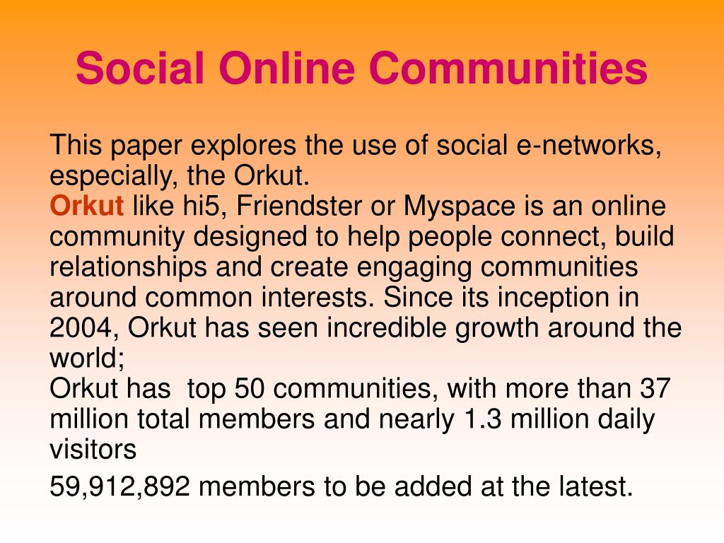 Social Online Communities