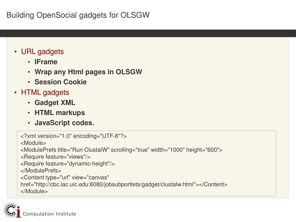 Building OpenSocial gadgets for OLSGW