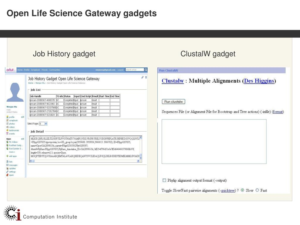 Open Life Science Gateway gadgets