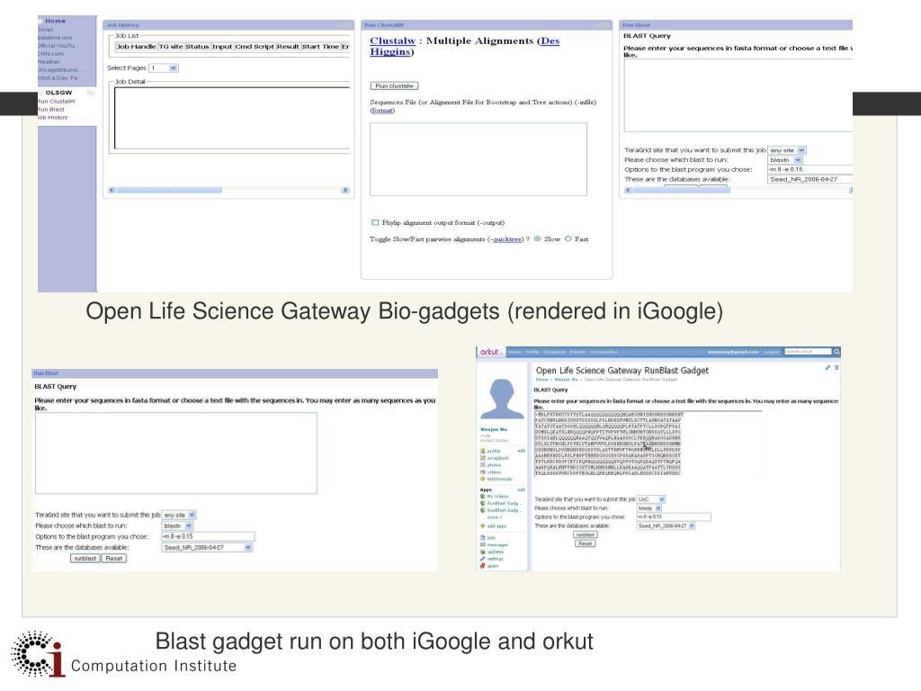 Open Life Science Gateway Bio-gadgets (rendered in iGoogle)