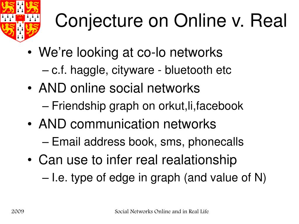 Conjecture on Online v. Real