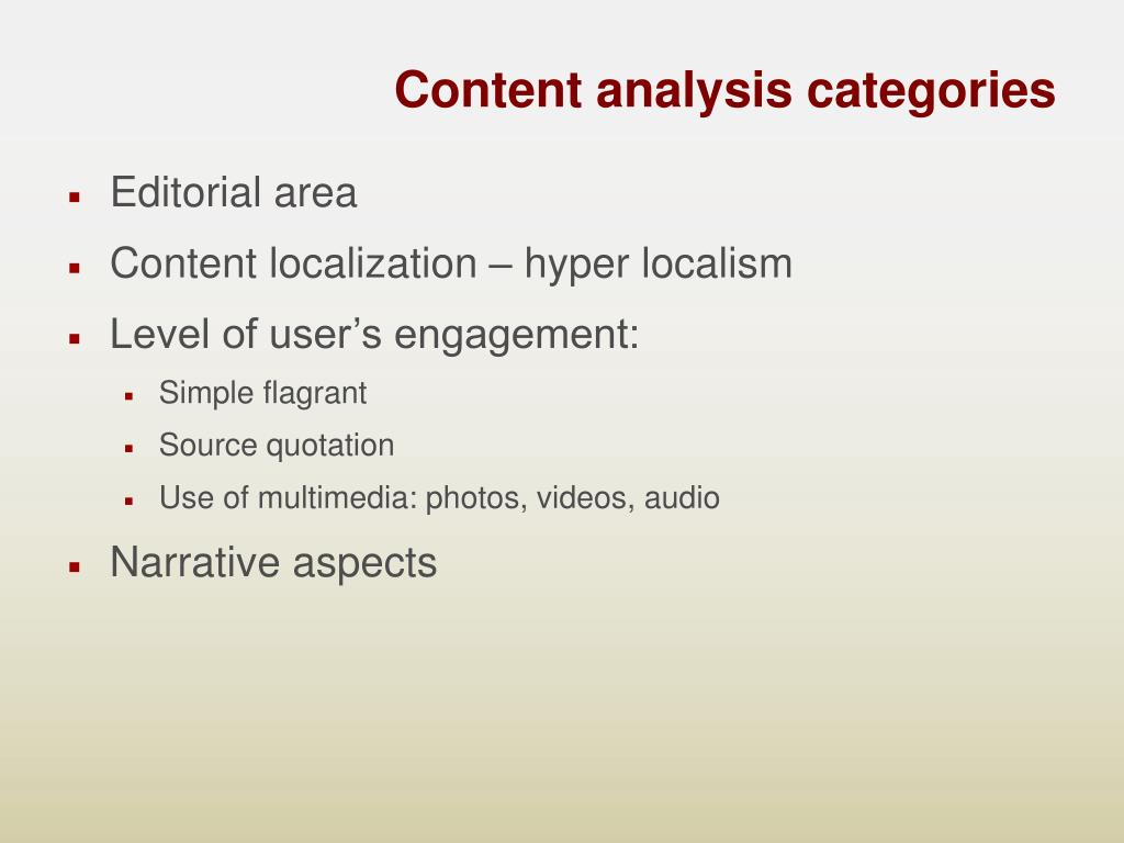 Content analysis categories