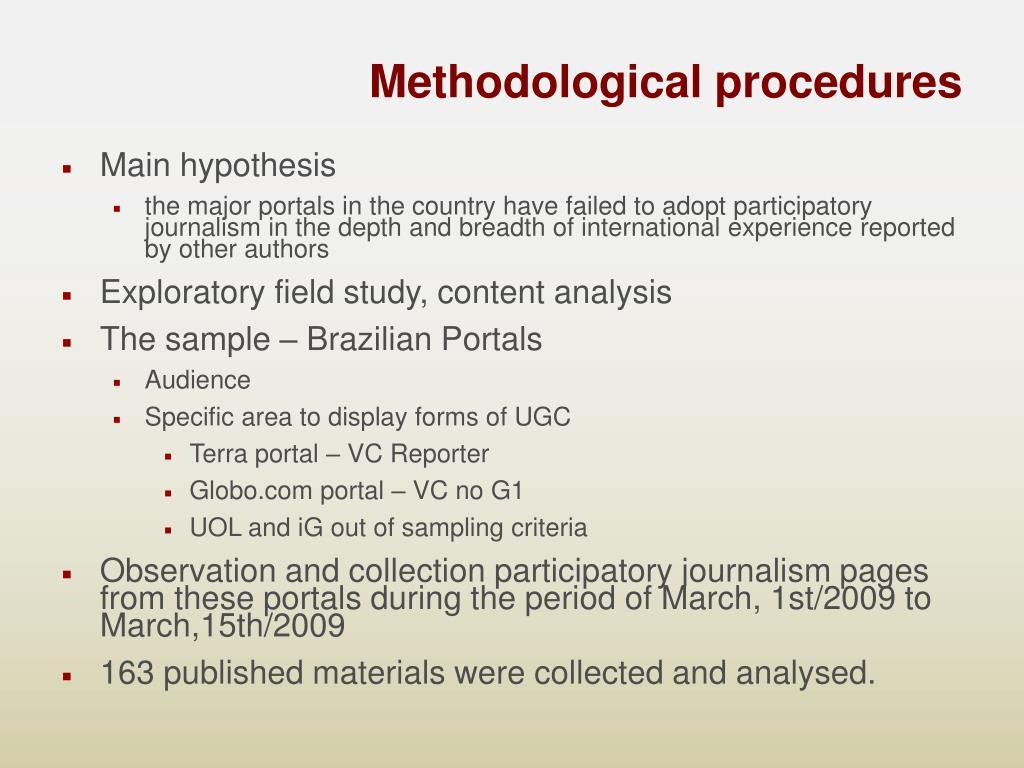 Methodological procedures