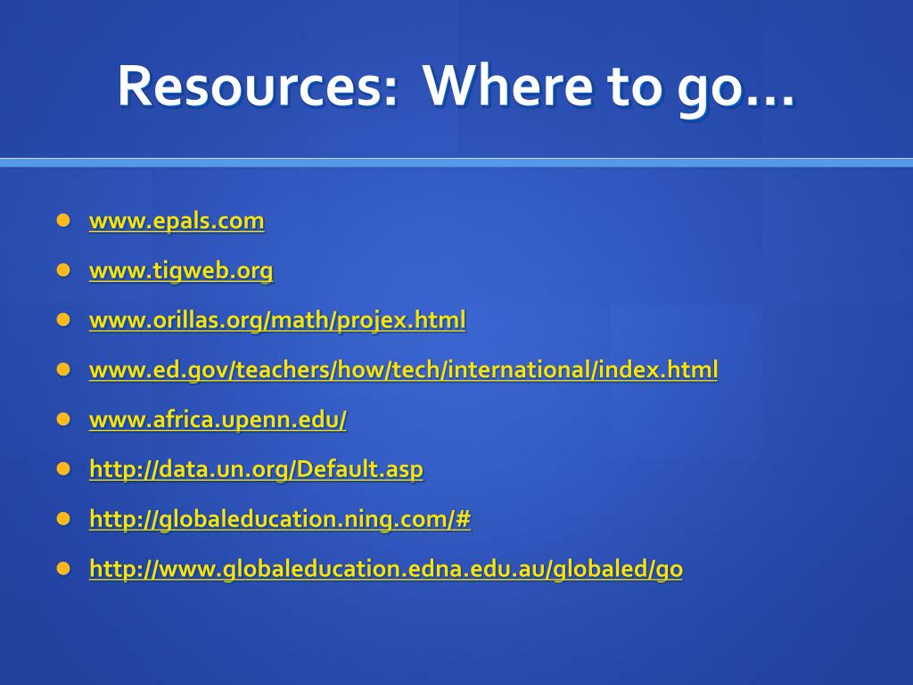 Resources:  Where to go…