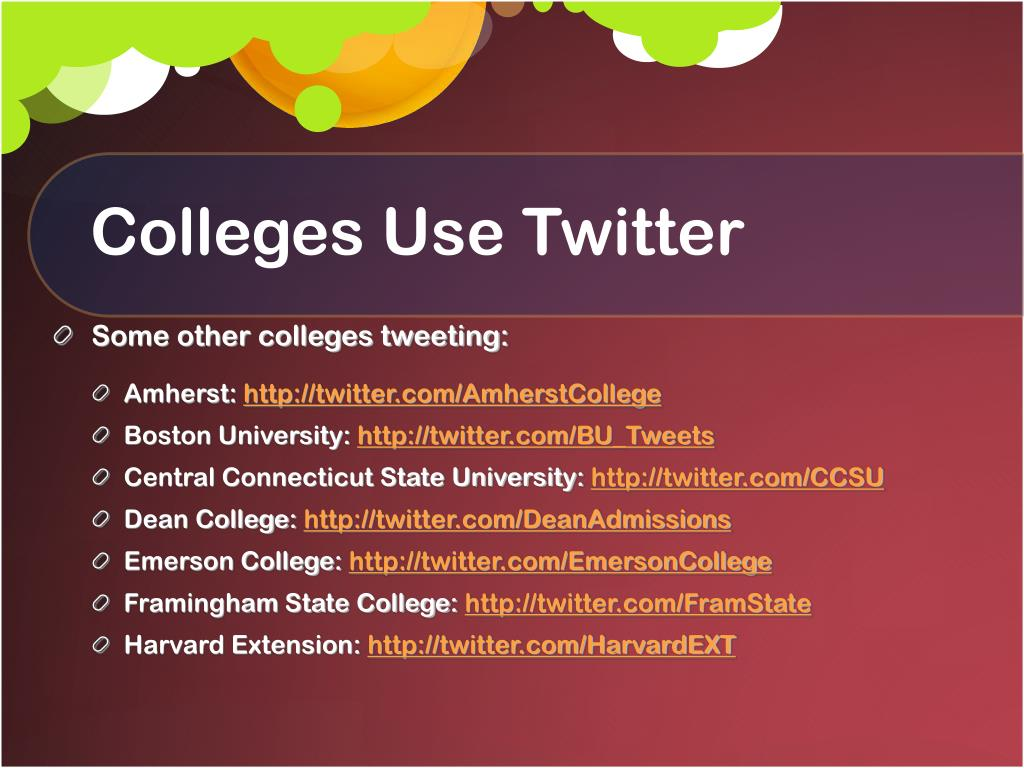 Colleges Use Twitter