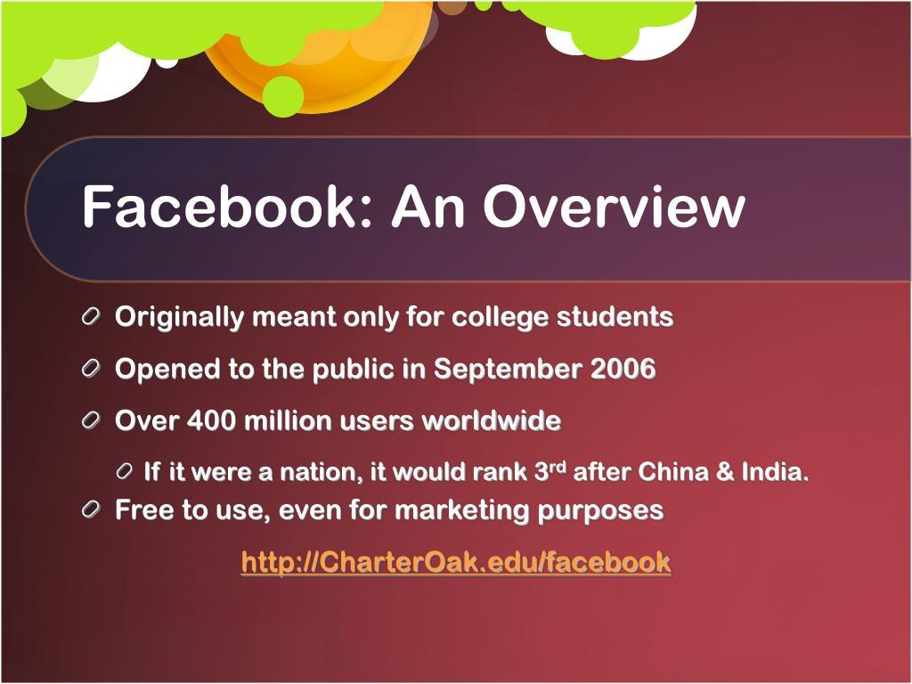 Facebook: An Overview