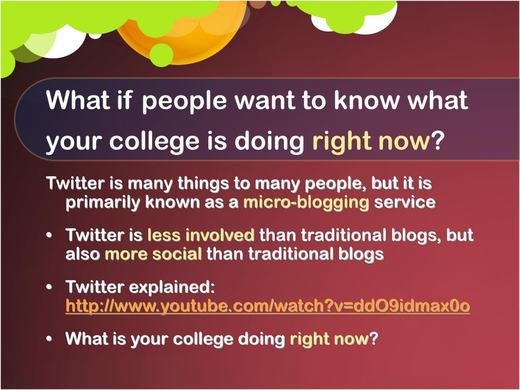 What if people want to know what your college is doing