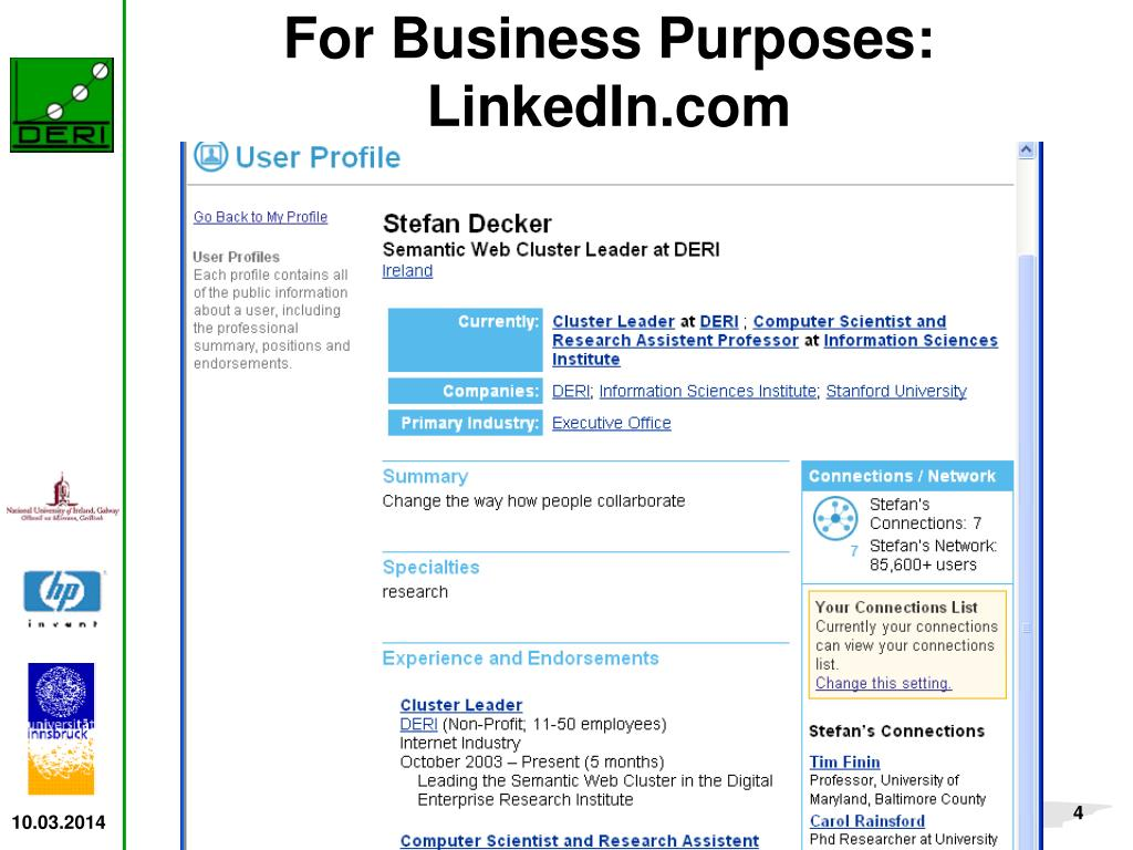 For Business Purposes: LinkedIn.com