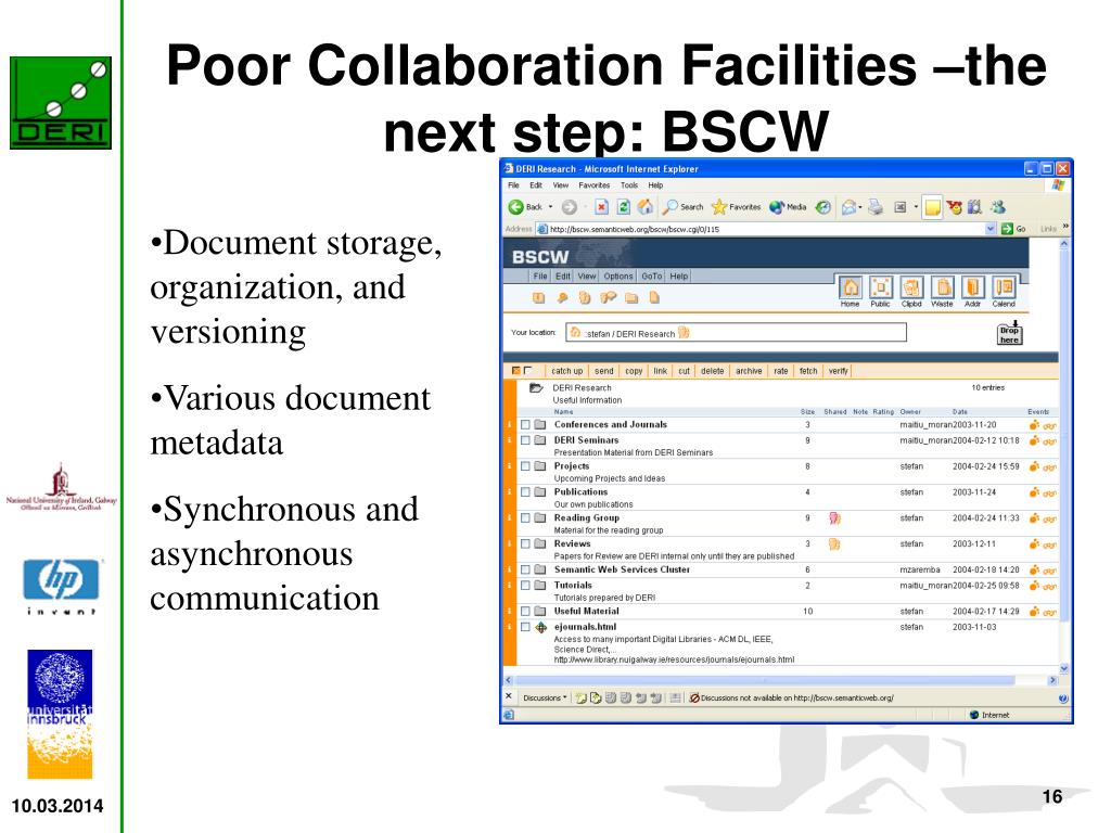 Poor Collaboration Facilities –the next step: BSCW