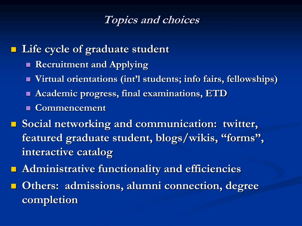 Topics and choices