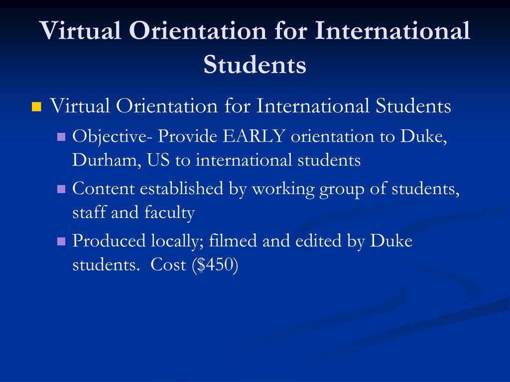 Virtual Orientation for International Students