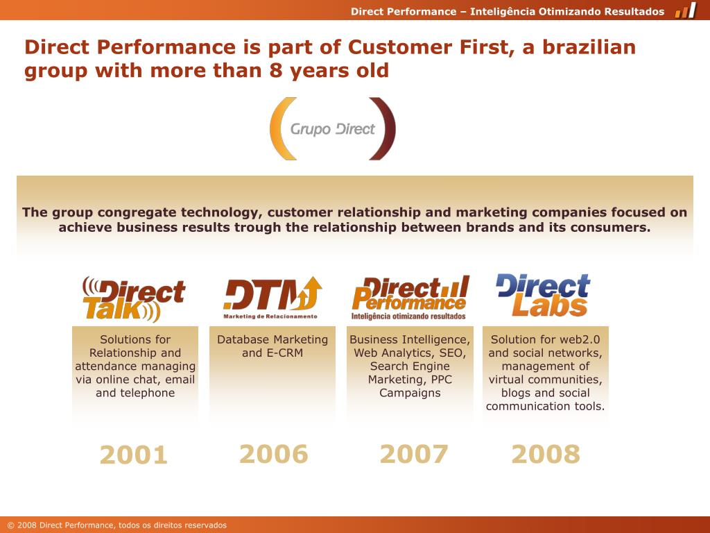 Direct Performance is part of Customer First, a brazilian group with more than 8 years old