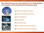 we offered services and solutions for optimization of all steps until reaching the business goal