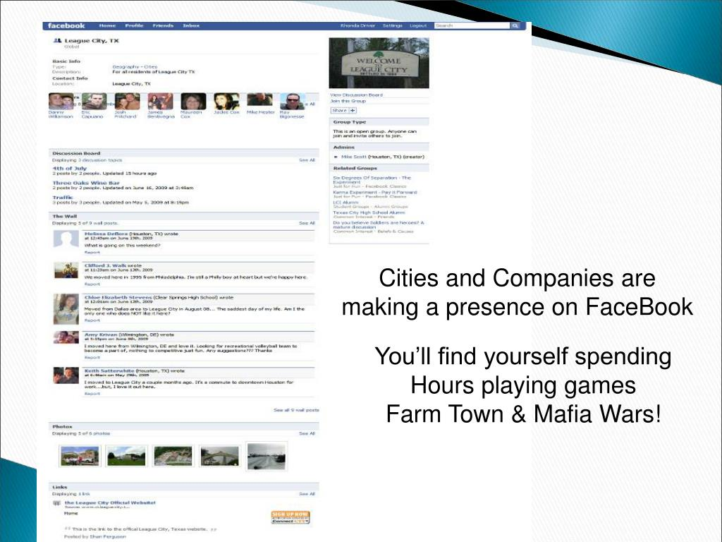 Cities and Companies are making a presence on FaceBook