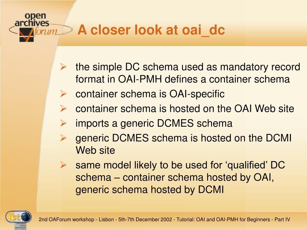 A closer look at oai_dc