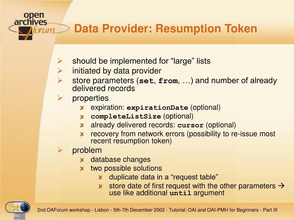 Data Provider: Resumption Token