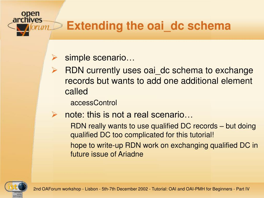 Extending the oai_dc schema