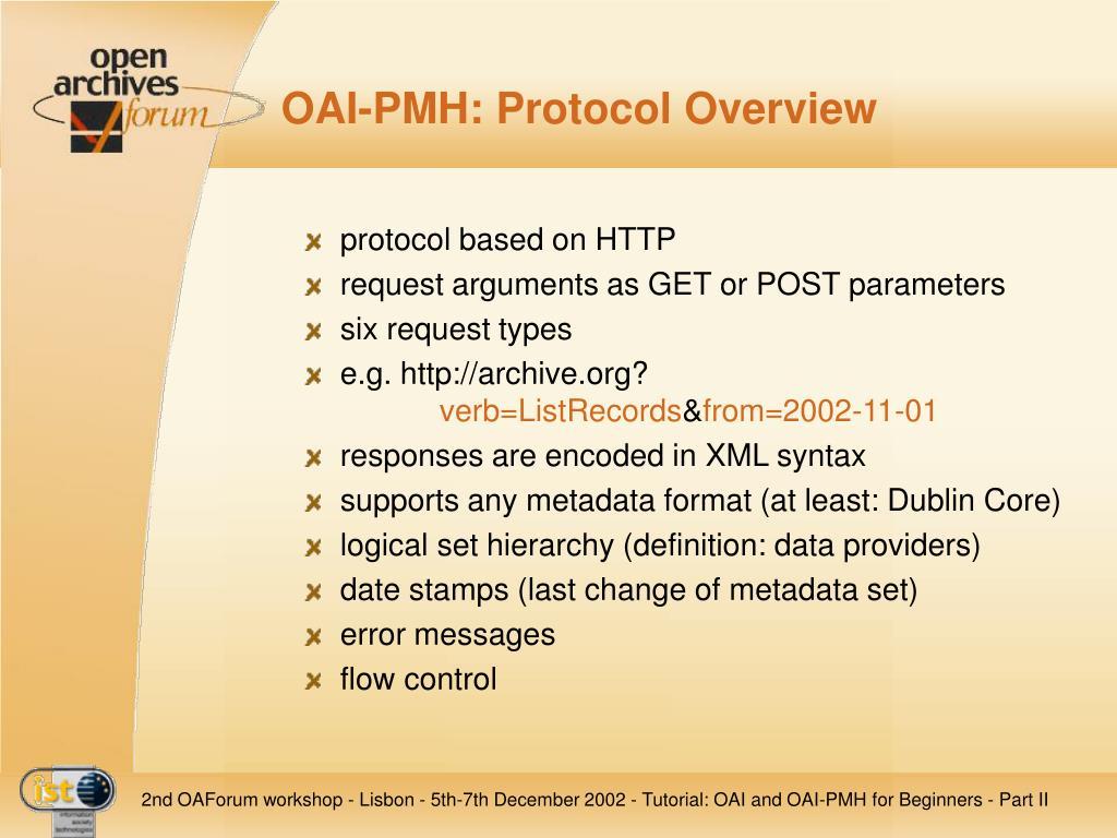 OAI-PMH: Protocol Overview