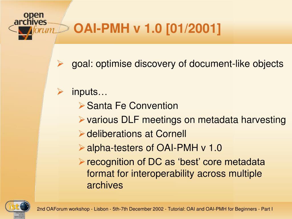 OAI-PMH v 1.0 [01/2001]