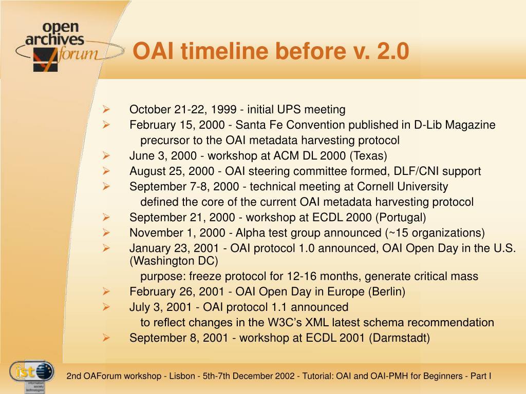 OAI timeline before v. 2.0