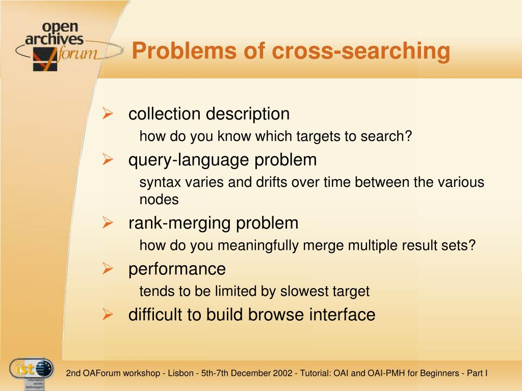Problems of cross-searching