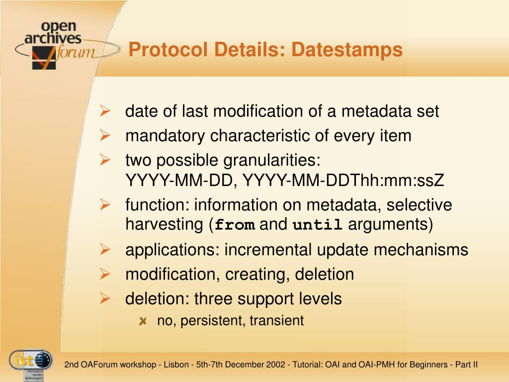 Protocol Details: Datestamps