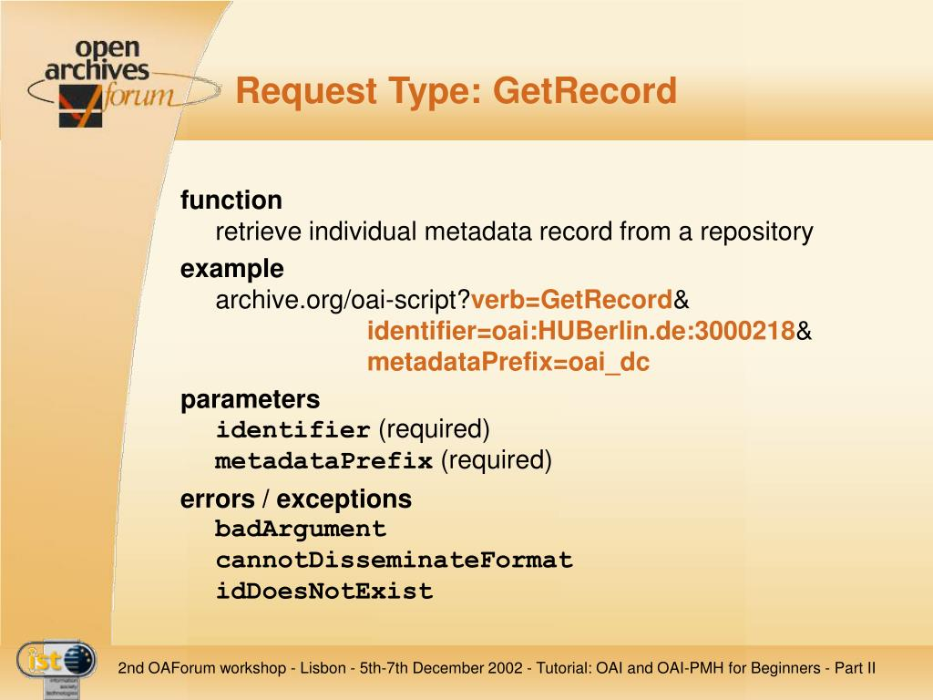 Request Type: GetRecord