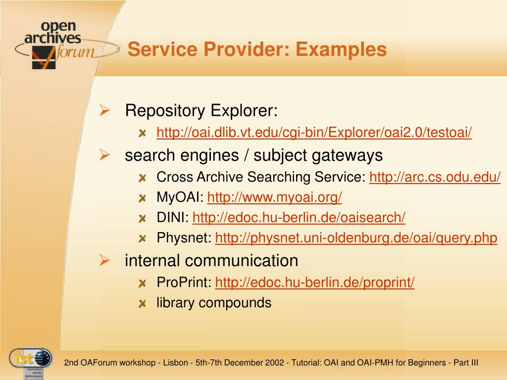 Service Provider: Examples
