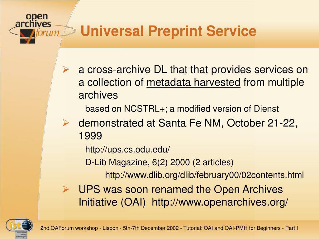 Universal Preprint Service